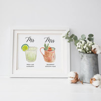 Personalized Painted Signature Drinks Sign, Custom Illustration Signature Drinks, Cusom sign, Custom Watercolor, Custom Painting, Wedding