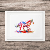 Horse Art Watercolor Paint Home Decor Picture Wall Hanging Art