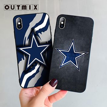 OUTMIX Hot selling fashion Dallas Cowboys Glitter design cell Case For iphone X XS XR XSMax 7 8plus 5 5s 6 6s Plus cover