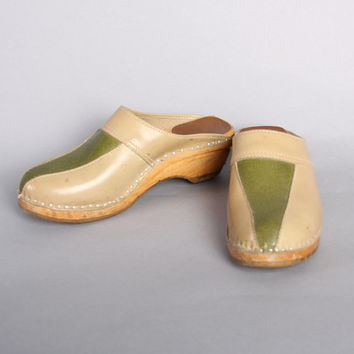 70s 2-TONE Leather CLOGS / Swedish Olive Green & Tan, 8-8.5