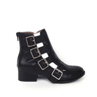 Jeffrey Campbell – EVERMORE Cut-Out Leather Ankle Bootie In Black Leather Thirteen Vintage