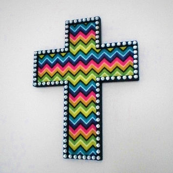 CHEVRON & BLING CROSS - Wall Cross, Decorative Handpainted Wood Cross in Black w/ Multi Color Chevron Print and Clear Rhinestones
