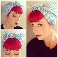 NEW Baby Blue Gingham Bandana Headwrap Bandana Hair Bow Tie 1950s Vintage Style - Rockabilly - Pin Up - For Women, Teens