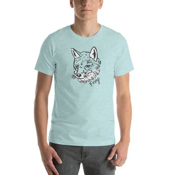 Furry Foxy Fox Unisex Short Sleeve Cotton T-Shirt | Funny, Quirky and Cute Hand Drawn Wild Animal Illustration