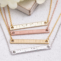 Hand Stamped Bar Necklace Personalized Bar Necklace Birth Date Name Initial Roman Numeral - Gift for Her Mom Brass LUVINMARK LVMKH5