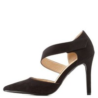 Black Asymmetrical Pointed Toe Pumps by Charlotte Russe