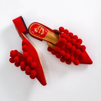 Pompom Pointed Toe Mules