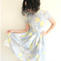 Vintage Vicky VaughnSweet Spring Cauliflower Blue and Yellow Tulip Fit and Flare Dress with Peter Pan Collar