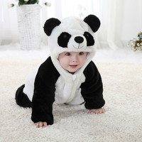 New Arrival  Baby Boy Girl panda Hooded Zipper Rompers Cute Baby Warm Costume Onesuit Panda Climbing Pajamas Romper Coverall