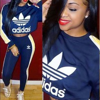 """ADIDAS""stripe sports suit two piece blue"