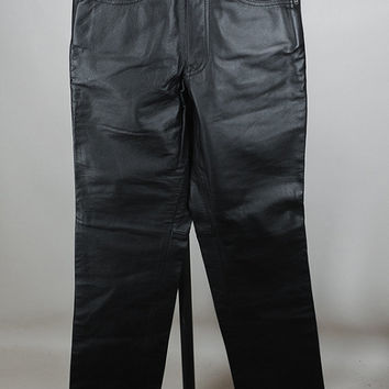 Vintage 90s Pants / 1990s Black Leather Straight Leg Motorcycle Pants S 26