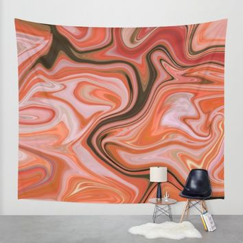 Marbled Frenzy Rustic Orange Wall Tapestry by Lisa Argyropoulos