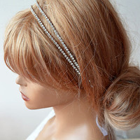 Bridal Hair Accessories, Double Rhinestone Headband, Wedding Hair Accessories, Wedding Headband