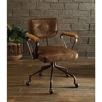 Leatherette Button Tufted Office Chair with 5 Caster Base, Brown-ACME