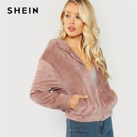 Trendy SHEIN Pink Preppy Elegant Elastic Hem Zipper Up Faux Fur Hooded Solid Jacket 2018 New Autumn Campus Women Coat And Outerwear AT_94_13