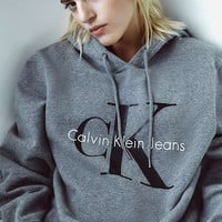 Calvin Klein Grey Logo Hoodie - Urban Outfitters