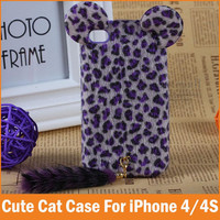 New For Apple iPhone 4 4S Case Soft Fox Fur Plush Mink Cute Cat Warm Lady Leopard Capa i4 s Cover Hellokitty Mobile Phone Bags