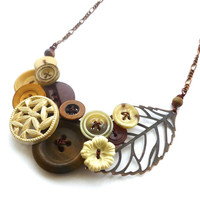 Asymmetrical Woodland Necklace with Brown, Tan, Off-White Vintage Buttons and Brass Leaf