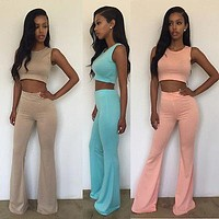 Women Ladies Clothing Sets Slim Skinny Fashion Sexy Clubwear 2pcs Playsuit Bodycon Party Jumpsuit Romper Pants Vest Tanks Summer