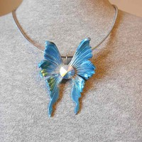 Little Blue Fantasy Fairy Wing Pendant with Swarovski Crystal