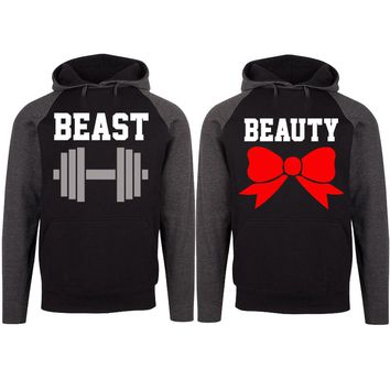 Beast and Beauty Two-tone Black / Charcoal Raglan Hoodie
