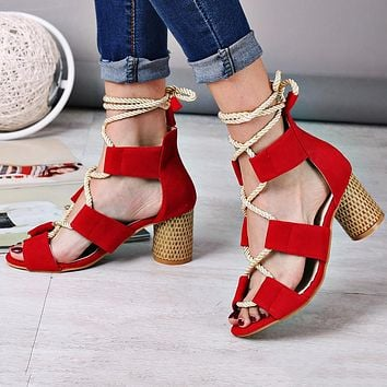 Hot fashion, high heeled sandals, big size ladies shoes 35-43 Red