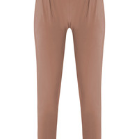 Rinda Taupe Slinky High Waisted Joggers - Trousers - PrettylittleThing | PrettyLittleThing.com