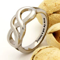 "Mother Ring, Double Infinity Ring, Promise Ring ""Forever Love You My Mom"" Engraved on Inside Best Gift for Mother Daughter Forever"