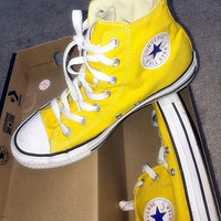 """Converse"" Fashion High tops Wine red Canvas Flats Sneakers Sport Shoes Yellow"