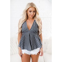 Jumping Ship Plunging Neckline Top (Grey)