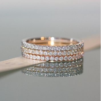 2017 promotion fine 100% 925 sterling silver classic delicate 3 colors stack stackable eternity cz ring full stone band sets