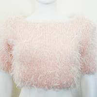 90s Furry Fuzzy Crop top Sweater / Light Pink CLUB Kid Pullover Knit Shirt