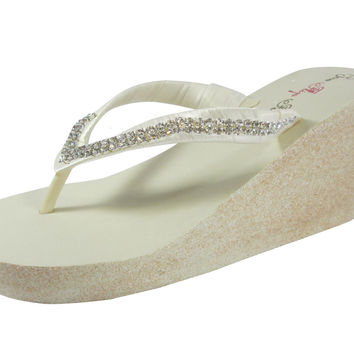 Ivory & Champagne Glitter and Diamond Wedged Wedding Flip Flops for the Bride