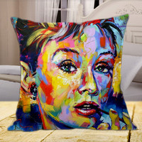 Audrey Hepburn Color  on Square Pillow Cover