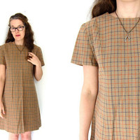 Plaid Wool Mini Dress 60s Shirt Dress Light Brown Minimal Striped Short Sleeve Mod Twiggy Dress School Prep Louannes Vintage Medium Large