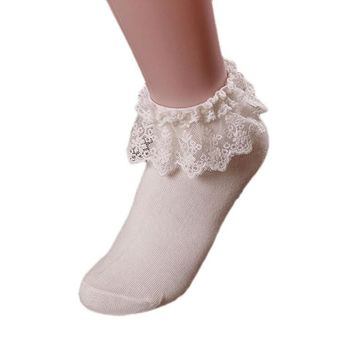 2017 KLV New Fashion Princess Girl Cute Sweet  Women Vintage Lace Ruffle Frilly Ankle Socks Princess Girl Cotton Sock