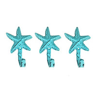 Starfish Wall Hangers Cast Iron Weathered Aqua - Set of 3 for Coats, Aprons, Hats, Towels, Pot Holders, More