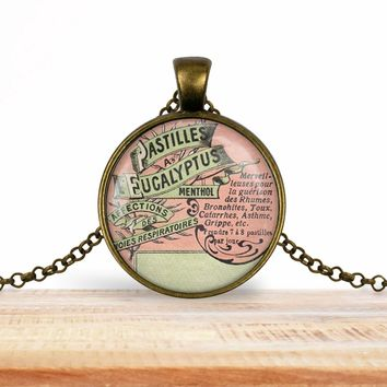 Vintage product label photo pendant - Pastilles eucalyptus menthol- francophile necklace
