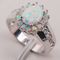 White Fire Opal 925 Sterling Silver Gemstone Jewelry Ring Size 6 7 8 9 10 11 [9819647823]