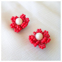 50s Red clip-on earrings - red coral earrings - gift idea for Vintage lover