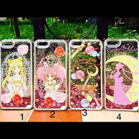 PREORDER Sailor Moon Princess Serenity Glitter Fall Kawaii Decoden Phone Case for Iphone 5/5s 6 6 Plus and Samsung Note 4