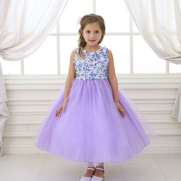 Cute Lilac Tulle Dress with Floral Top