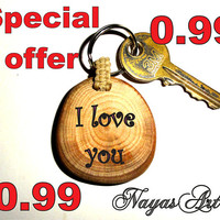 I Love You, Keychain Keyring, natural wood. Unique gift. Nayas Art, Nayasart. Wedding, birthday, Valentine's day... gift. Cute Gift for all