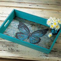 Painted Blue Butterfly Wooded Serving or Display Tray