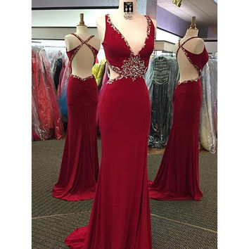 Sexy Backless Prom Dress Evening Formal Cocktail Dresses pst1338