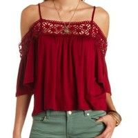 Crochet Trim Cold Shoulder Top by Charlotte Russe
