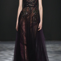 One Shoulder Draped Tulle Gown | Moda Operandi