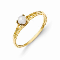14k Yellow Gold Pearl Birthstone Baby Ring