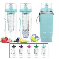 Bevgo Infuser Water Bottle – Large 32oz - Hydration Timeline Tracker – Detachable Ice Gel Ball With Flip Top Lid - Quit Sugar - Save Money - Multiple Colors with Recipe Gift Included