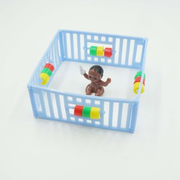 Blue Playpen with Black Baby Cake Topper Boy Baby Shower Decoration